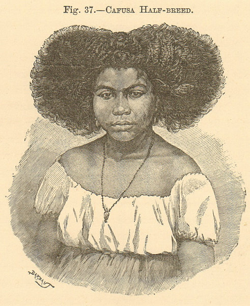 Associate Product Cafusa half-breed woman. Brazil. Cafuzo. SMALL 1885 old antique print picture