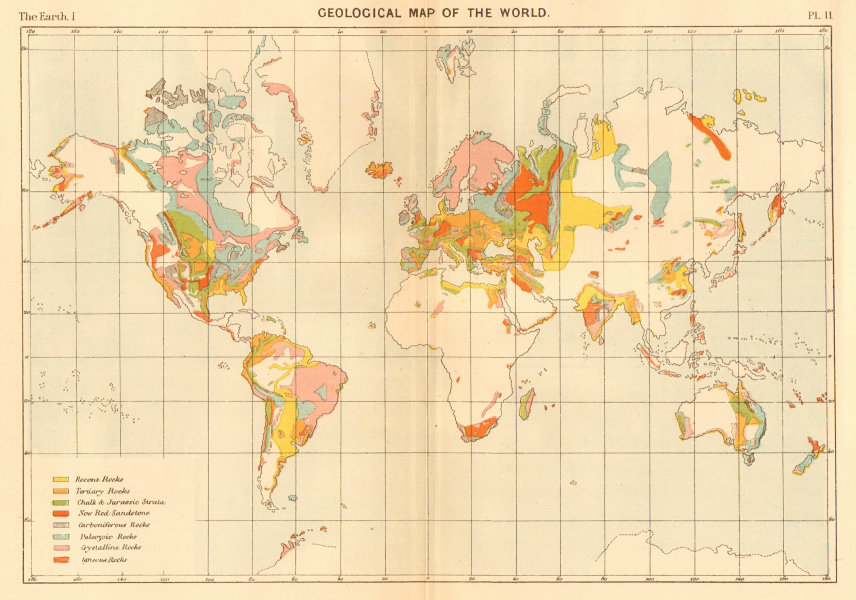 Associate Product Geological Map of the World 1886 old antique vintage plan chart