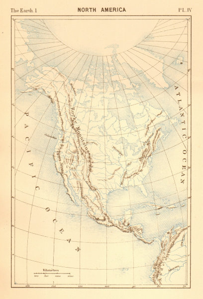 Associate Product North America. Physical. Mountains & rivers 1886 old antique map plan chart