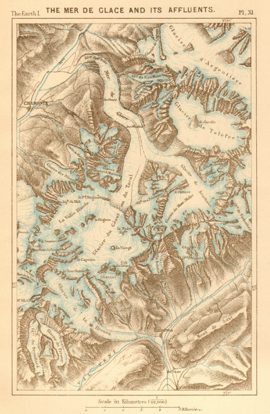 Associate Product The Mer de Glace and its Affluents. Haute-Savoie. Chamonix 1886 old map