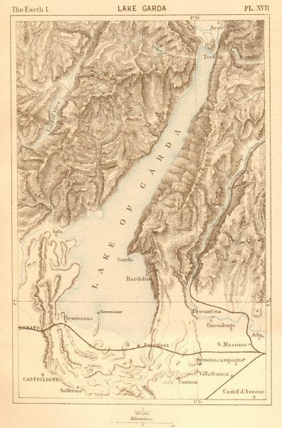 Associate Product Lake Garda. Italy. Lago Garda 1886 old antique vintage map plan chart