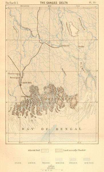 Associate Product The Ganges Delta. Bangladesh. Calcutta Kolkata 1886 old antique map plan chart
