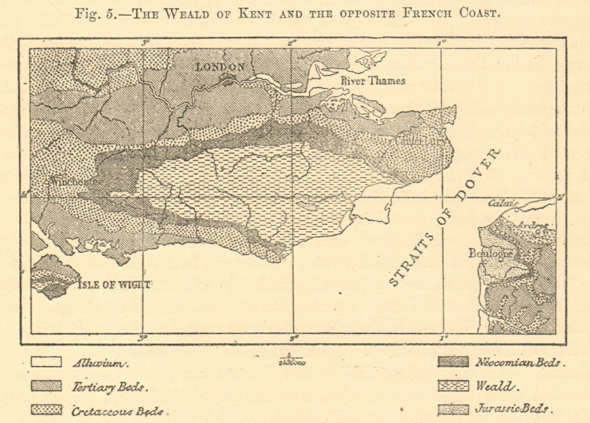 Associate Product Kent Weald & the Opposite French Coast. Geological. Sketch map 1886 old