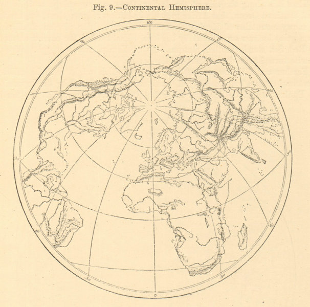 Associate Product Continental Hemisphere. World. North Pole. Sketch map 1886 old antique