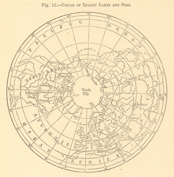 Associate Product Circle of Inland Lakes and Seas. Arctic. North Pole. Sketch map 1886 old