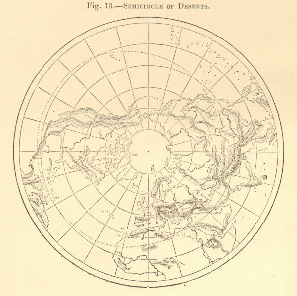 Associate Product Semicircle of Deserts. Arctic. North Pole. Sketch map 1886 old antique