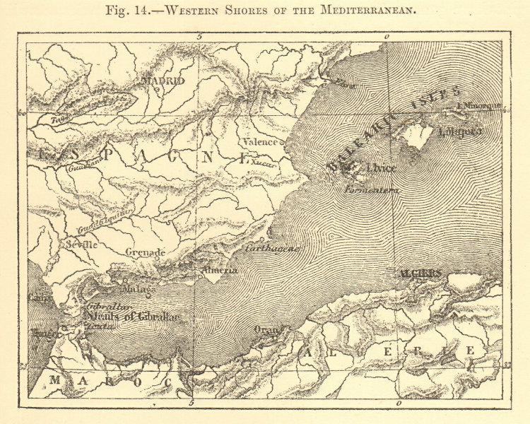 Associate Product Western Mediterranean. Spain. Morocco Algeria Balearics. Sketch map 1886
