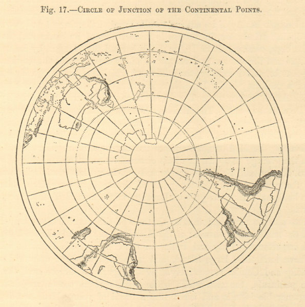 Associate Product Circle of Junction of Continental Points. Antarctic. South Pole. Sketch map 1886