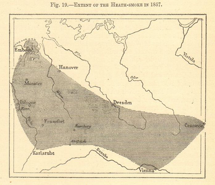 Associate Product 1857 heath fire. Germany. Emden Hanover Krakow Vienna Dresden. Sketch map 1886