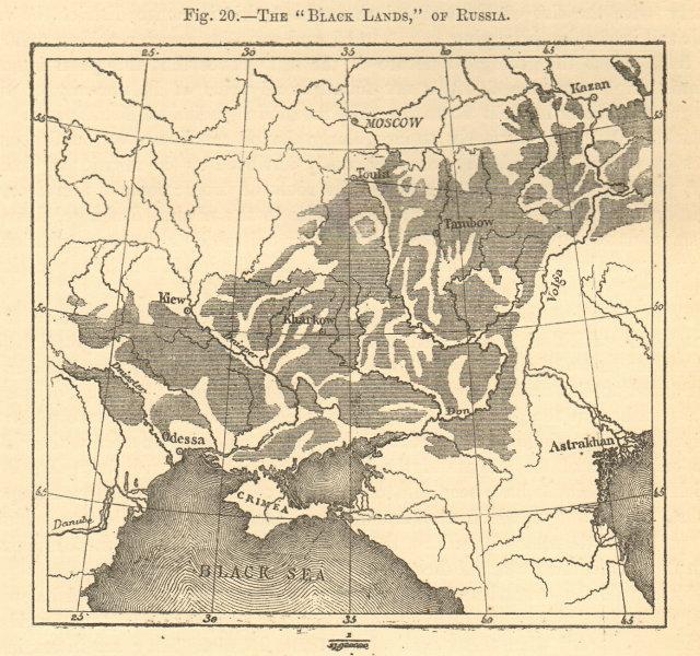 "Associate Product The ""Black Lands"" of Russia. Ukraine. Chernozem. Sketch map 1886 old"