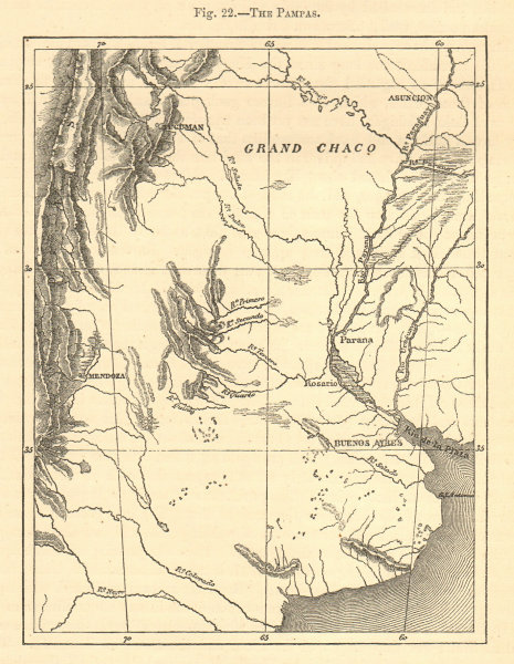 Associate Product The Pampas. Argentina. Mendoza Buenos Aires. Sketch map 1886 old antique