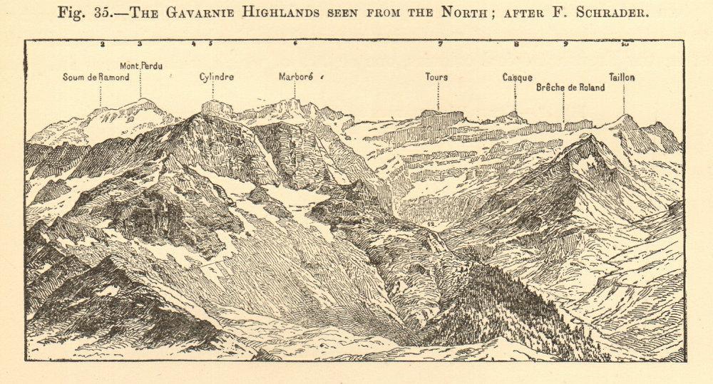 Associate Product Cirque de Gavarnie. Hautes-Pyrénées Mont Perdu Casque Taillon Marboré SMALL 1886