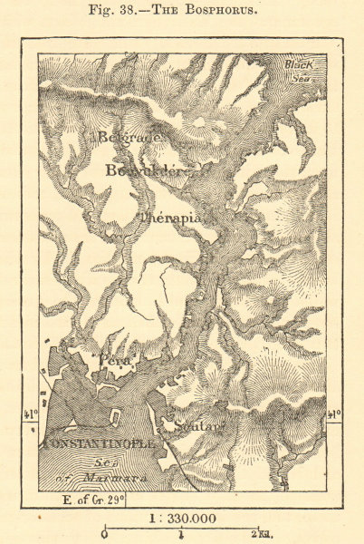 Associate Product The Bosphorus. Turkey. Istanbul Constantinople. SMALL sketch map 1886 old