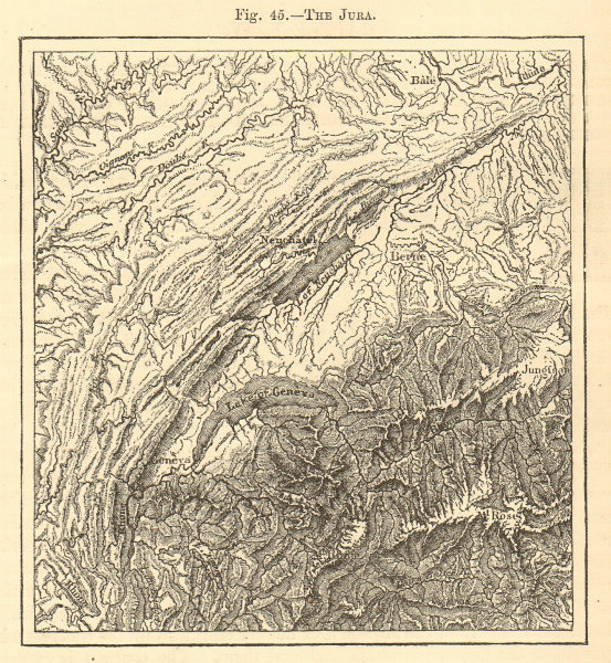 Associate Product The Jura. Switzerland. Lake Geneva Neuchatel. Sketch map 1886 old antique