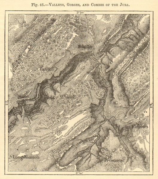 Associate Product Valleys, Gorges and Combes of the Jura. Morez Les Rousses. Sketch map 1886