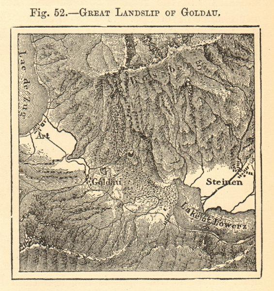 Associate Product Great Landslip of Goldau. Switzerland. Steinen Art. SMALL sketch map 1886