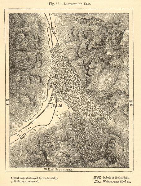 Associate Product Landslip of Elm. Switzerland. Sketch map 1886 old antique plan chart