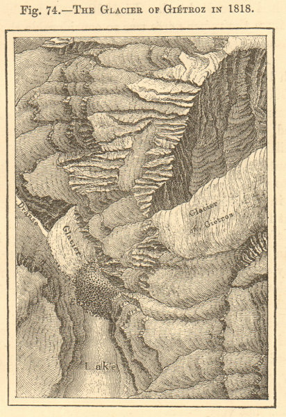 Associate Product The Glacier of Gietroz in 1818. Switzerland. Verbier. SMALL sketch map 1886
