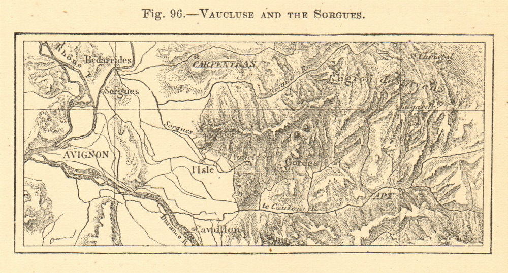 Associate Product Vaucluse and the Sorgues. Avignon Carpentras. SMALL sketch map 1886 old
