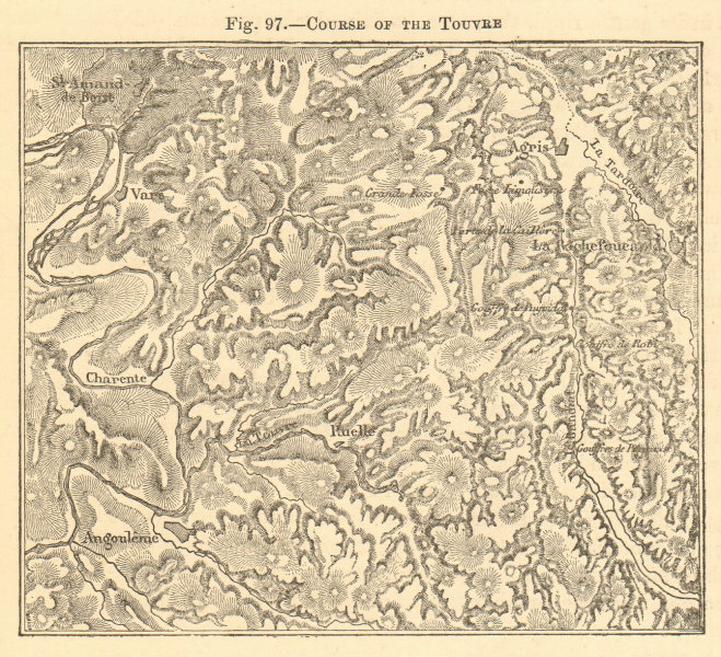 Associate Product Course of the Touvre. Charente. Angoulême Ruelle Agris. Sketch map 1886