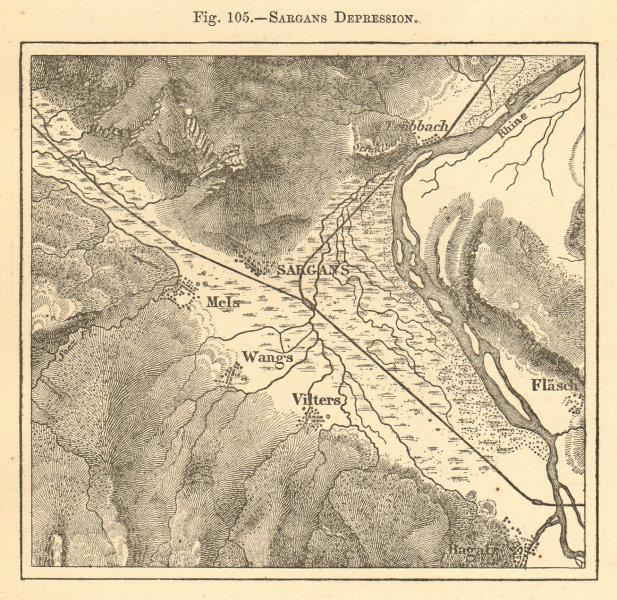 Associate Product Sargans Depression. Switzerland. Wangs Ragatz Mels Vilters. Sketch map 1886