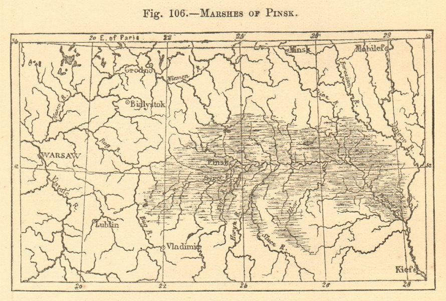 Associate Product Pinsk Pripet Polesie Rokitno Marshes. Belarus Ukraine. SMALL sketch map 1886