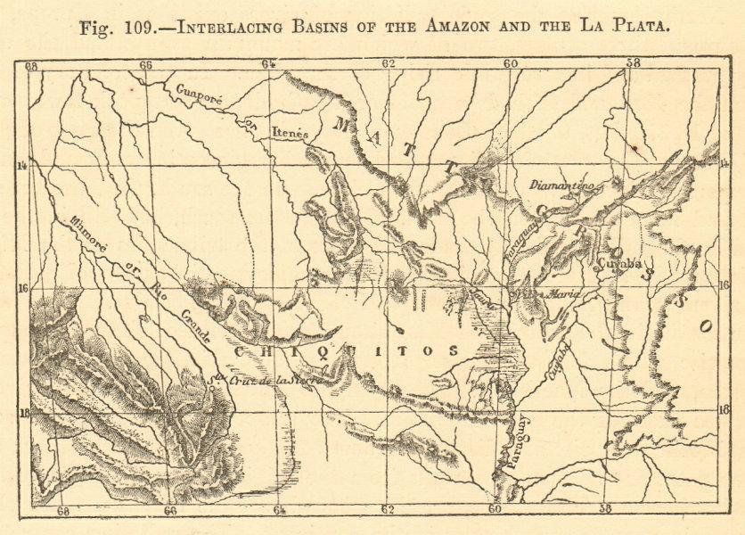Associate Product Amazon & La Plata basins. Brazil. Mato Grosso Bolivia. SMALL sketch map 1886