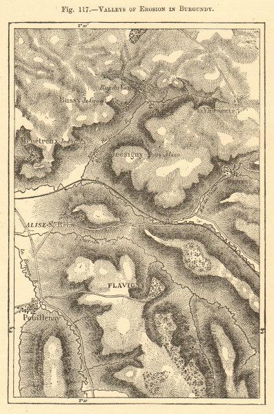 Associate Product Burgundy valleys. Côte-d'Or. Flavigny-sur-Ozerain Pouillenay. Sketch map 1886