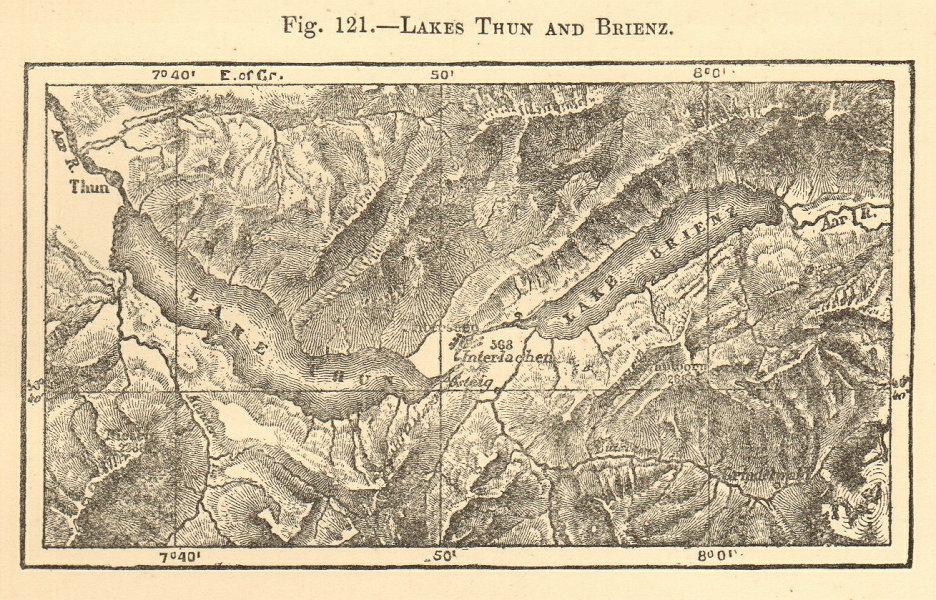Associate Product Lakes Thun and Brienz. Switzerland. Interlaken. SMALL sketch map 1886 old