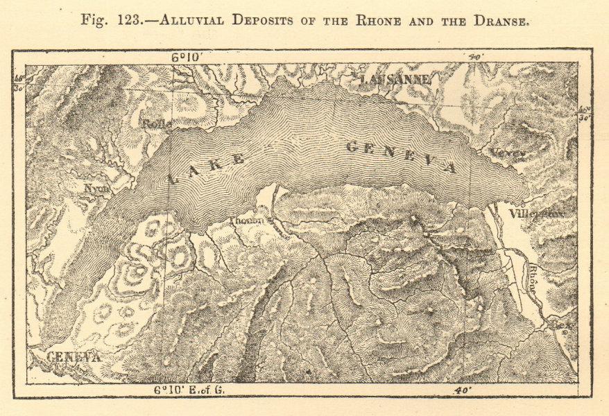 Associate Product Rhone & Dranse alluvial deposits. Haute-Savoie Lake Geneva SMALL sketch map 1886