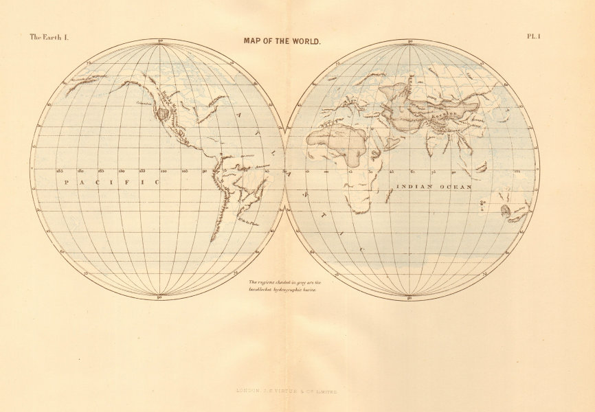 Associate Product Map of the World. Twin Hemispheres 1886 old antique vintage plan chart