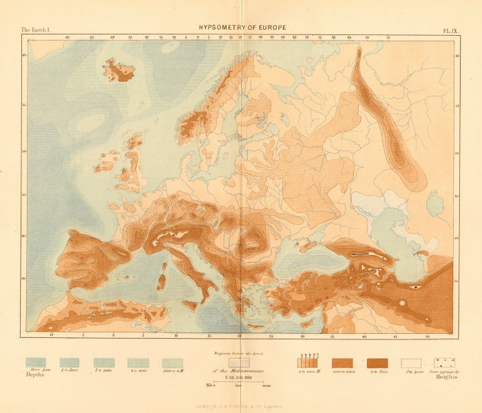 Associate Product Hypsometry of Europe 1886 old antique vintage map plan chart