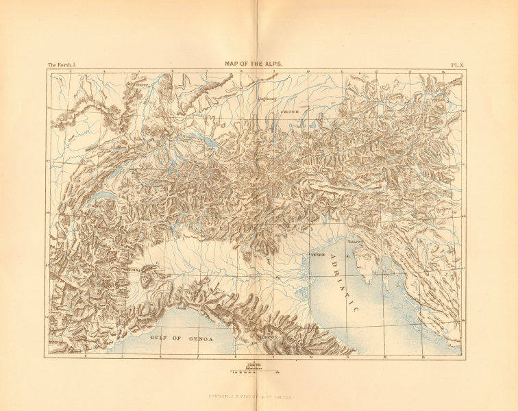 Associate Product Map of the Alps. Europe 1886 old antique vintage plan chart