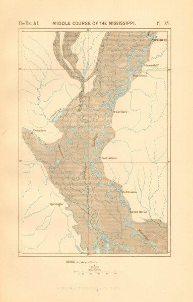 Associate Product Mississippi middle course. Louisiana. Baton Rouge Vicksburg Natchez 1886 map