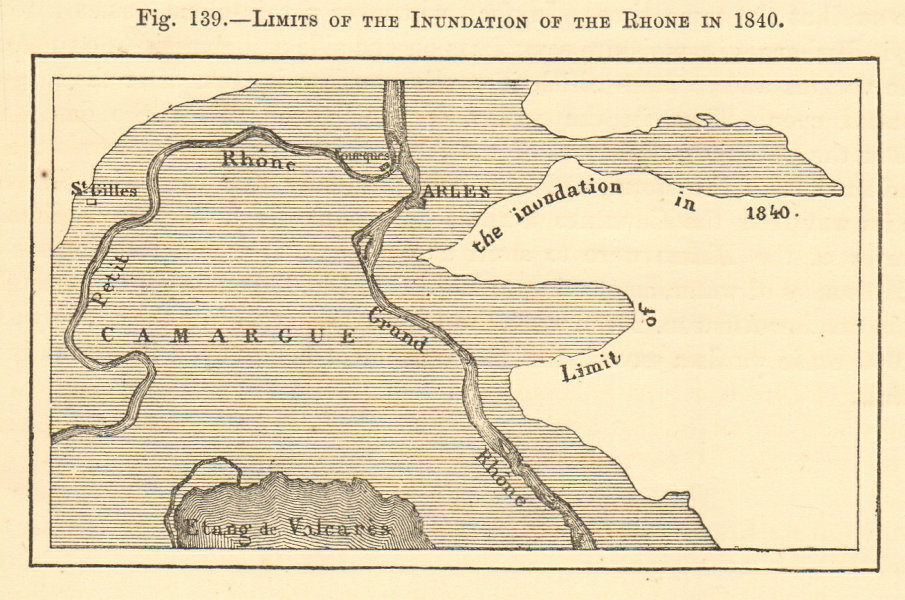 Associate Product Arles floods limits in 1840. Bouches-du-Rhône. SMALL sketch map 1886 old