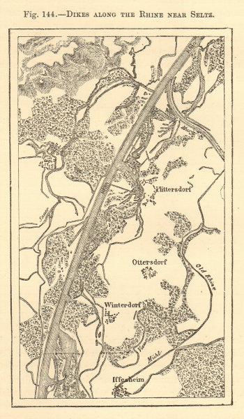 Associate Product Rhine dikes near Seltz. Bas-Rhin. Ottersdorf Wintersdorf. Sketch map 1886