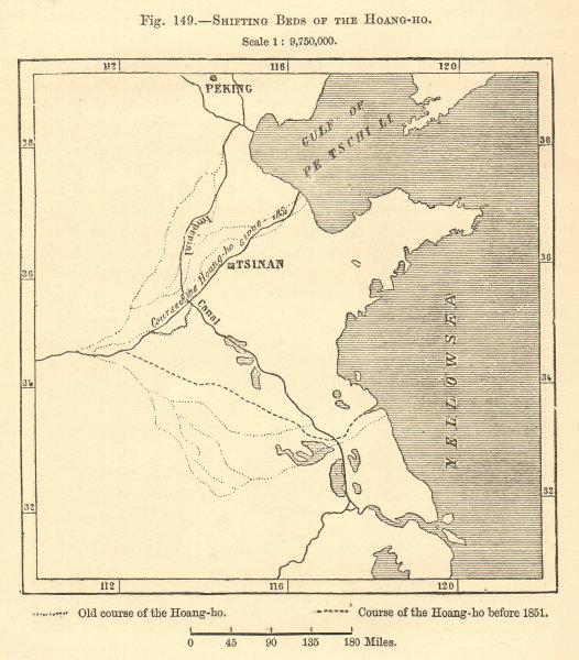Associate Product Shifting Beds of the Hoang-Ho. Yellow River, China. Jinan. Sketch map 1886