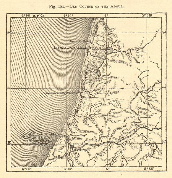 Associate Product Old Course of the Adour. Pyrénées-Atlantiques Bayonne Cap Breton Sketch map 1886