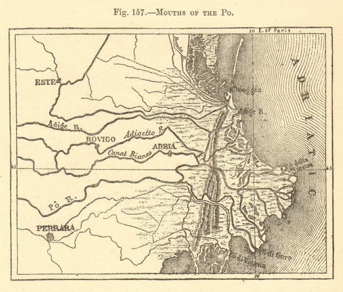 Associate Product Mouth of the Po. Italy. Ferrara Chioggia Adria Este. Sketch map 1886 old
