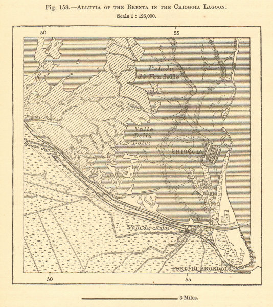 Associate Product Alluvia of the Brenta in the Chioggia Lagoon. Italy. Sketch map 1886 old