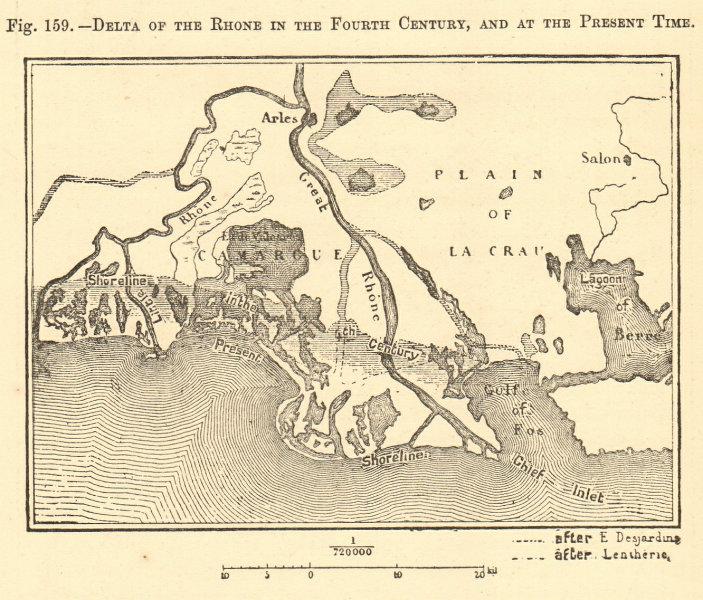 Associate Product Rhône delta - 4th & 19th centuries. Bouches. Arles Camargue. Sketch map 1886
