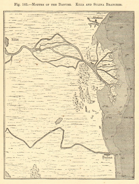 Associate Product Mouths of the Danube. Kilia and Sulina Branches. Romania. Sketch map 1886