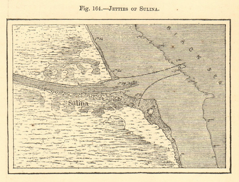 Associate Product Jetties of Sulina. Romania. Danube. Sketch map 1886 old antique plan chart
