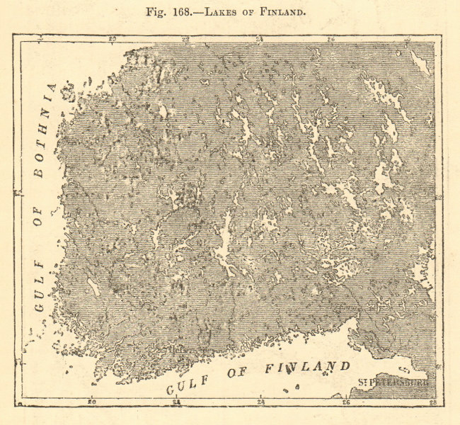 Associate Product Lakes of Finland. St Petersburg. Sketch map 1886 old antique plan chart