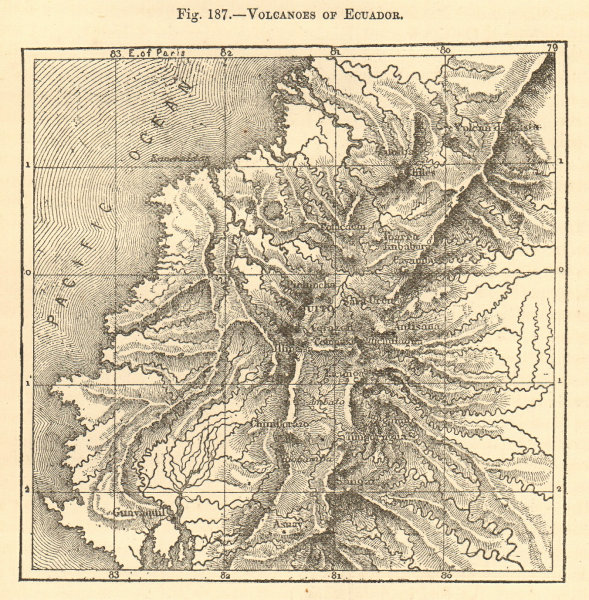 Associate Product Volcanoes of Ecuador. Andes Quito. Sketch map 1886 old antique plan chart