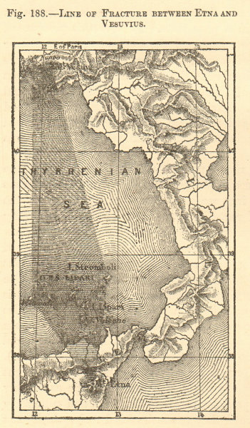 Associate Product Line of Fracture between Etna and Vesuvius. Italy. SMALL sketch map 1886