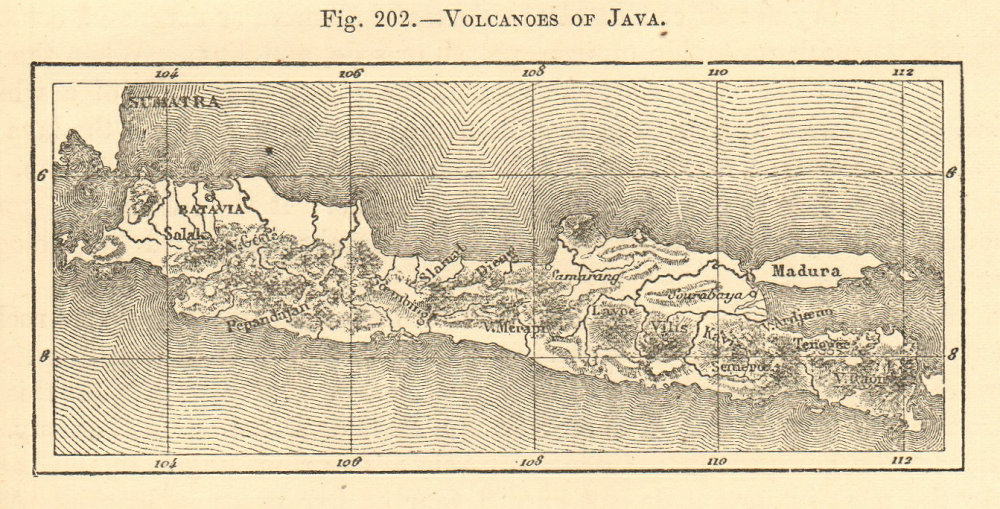 Associate Product Volcanoes of Java. Indonesia. SMALL sketch map 1886 old antique plan chart