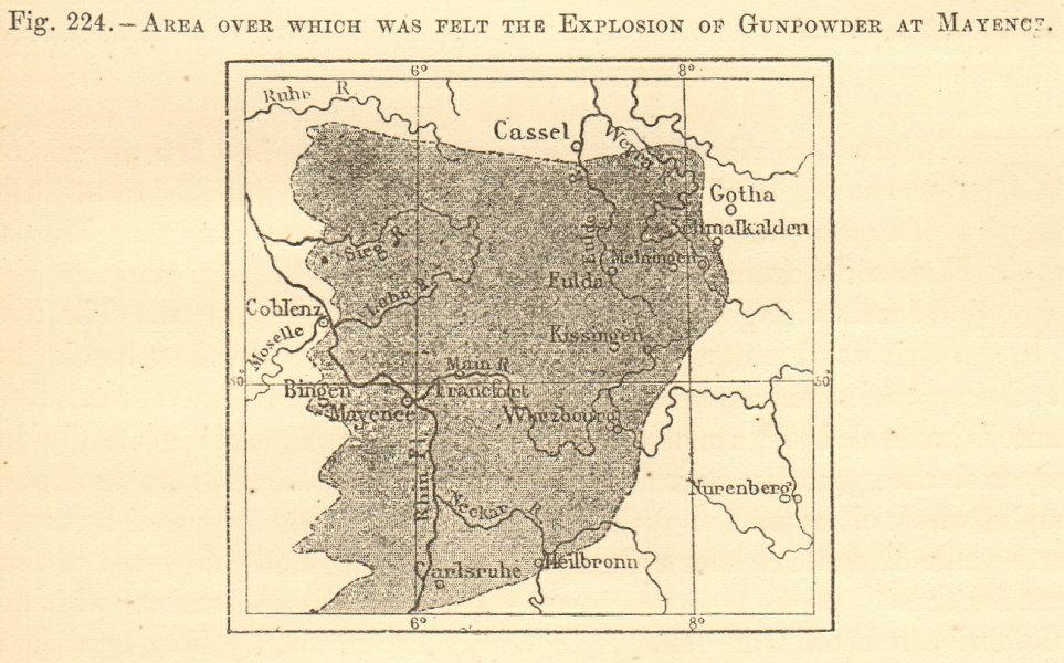 Associate Product 1857 Mainz gunpowder explosion area affected. Pulverturm. SMALL sketch map 1886