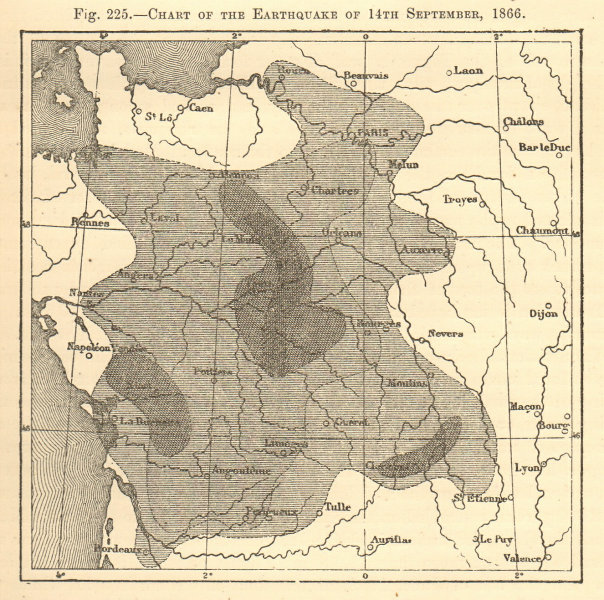 Associate Product Chart of the Earthquake of 14th September 1866. France. Sketch map 1886