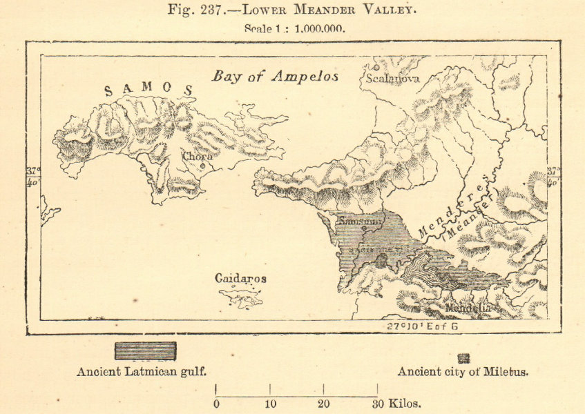 Associate Product Lower Meander Valley. Turkey. Buyuk Menderes River. Samos. SMALL sketch map 1886